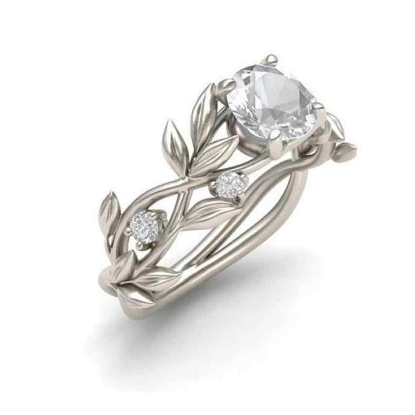 Superb Women's Ring Silver Floral Transparent Flower Vine Leaf Rings Wedding Gift Rings For Women Rhinestone Silver Anillos