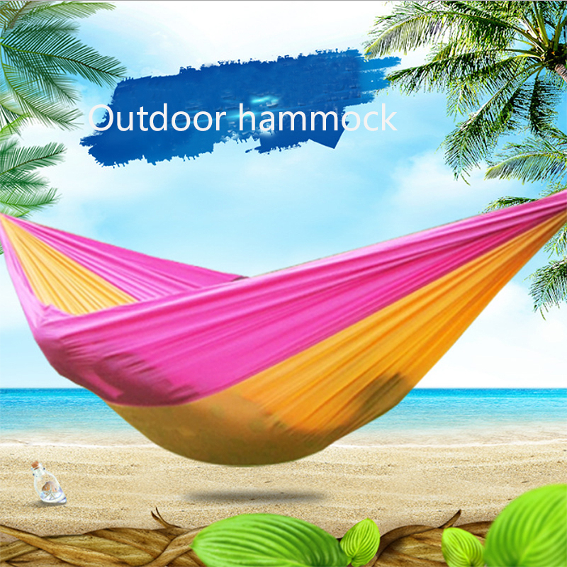 Energetic Portable Hammock Double Outdoor Backpacking Travel Person Camping Survival Garden Swing Parachute Hammocks Bright Luster Outdoor Furniture Patio Swings