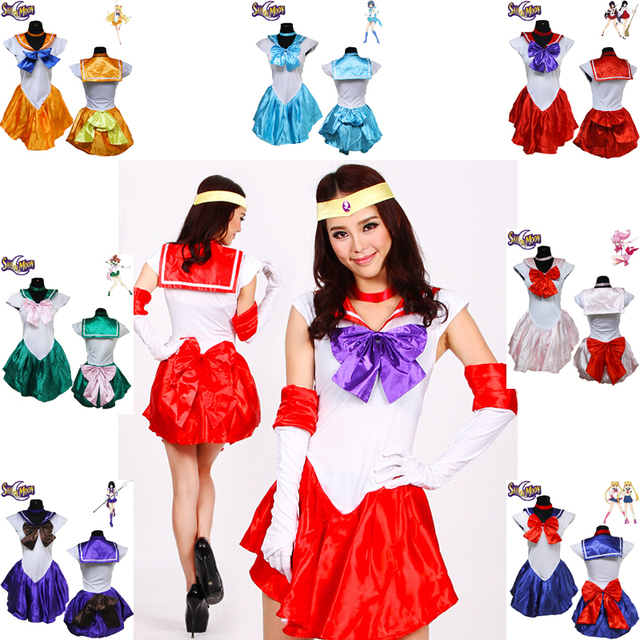 7 Colors Sexy Anime Pretty Soldier Sailor Moon Costume Women Halloween  Party Cosplay Uniform Fancy Dress Up Sailormoon Outfit 91c230679