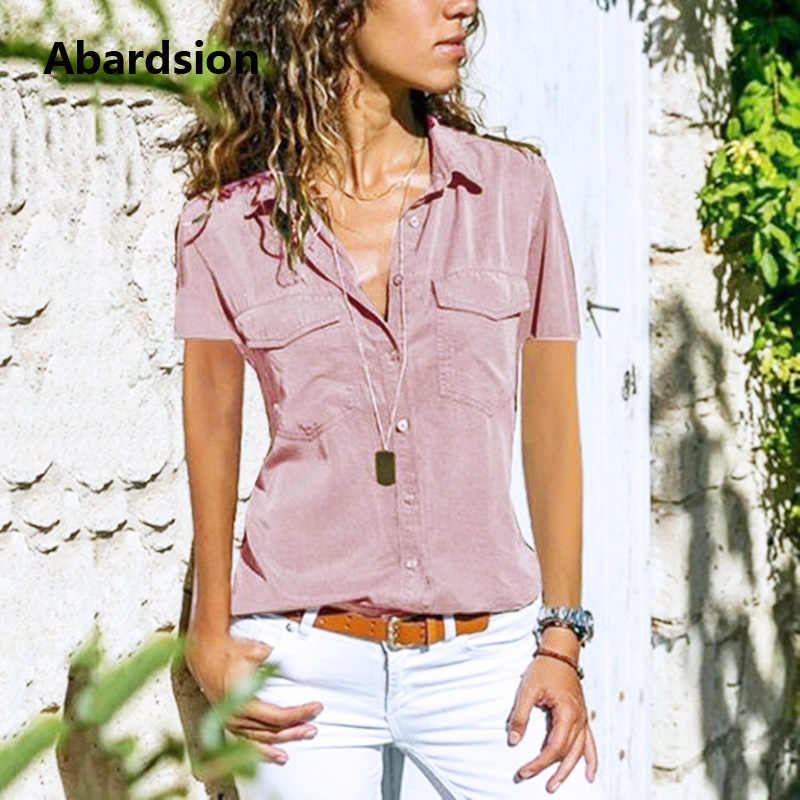 e87d10dd267 Abardsion Plus Size Womens Tops And Blouses 5XL 2019 Summer Shirt Short  Sleeve Button Pocket Turn