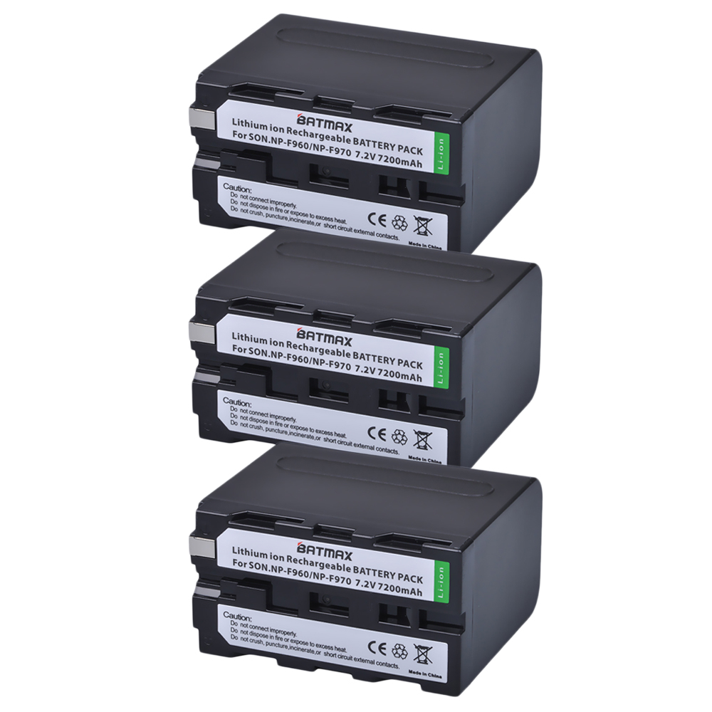 High Capacity 3Packs 7.2V 7200mAh NP-F960 NP-F970 NP F970 NP F960 Camcorder Batteries for Sony NP-F550 F770 F750 F960 F970 np f960 f970 6600mah battery for np f930 f950 f330 f550 f570 f750 f770 sony camera