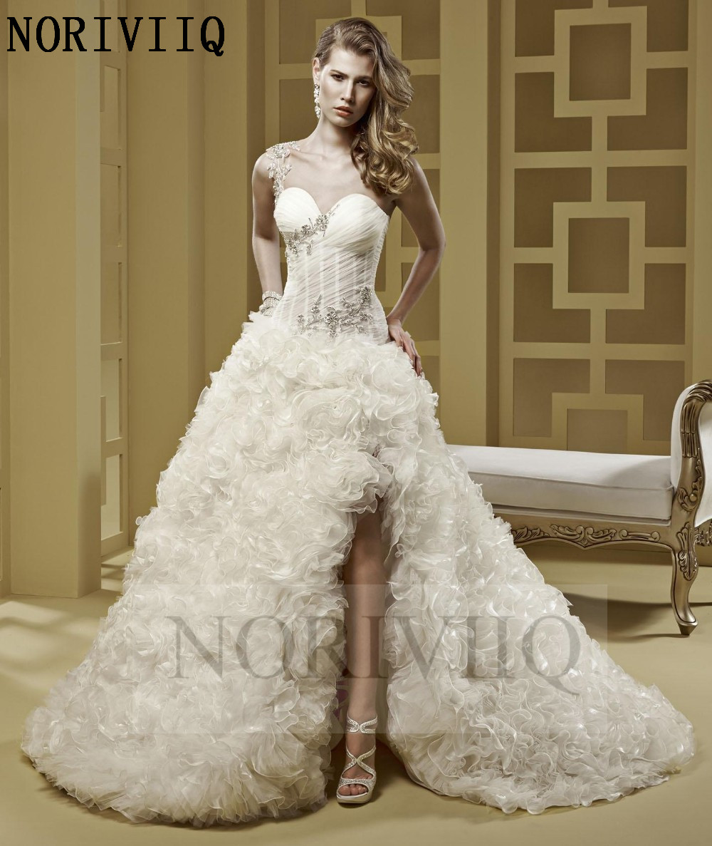 Sexy one shoulder luxury ruffled wedding dress short front for One shoulder short wedding dress