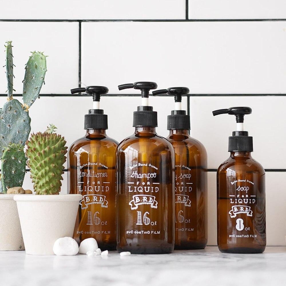 Коричневая стеклянная бутылка для шампуня для ванной скандинавский пресс насос бутылка для хранения жидкого кондиционера дорожный органайзер для мыла|Бутылки и банки для хранения|   | АлиЭкспресс