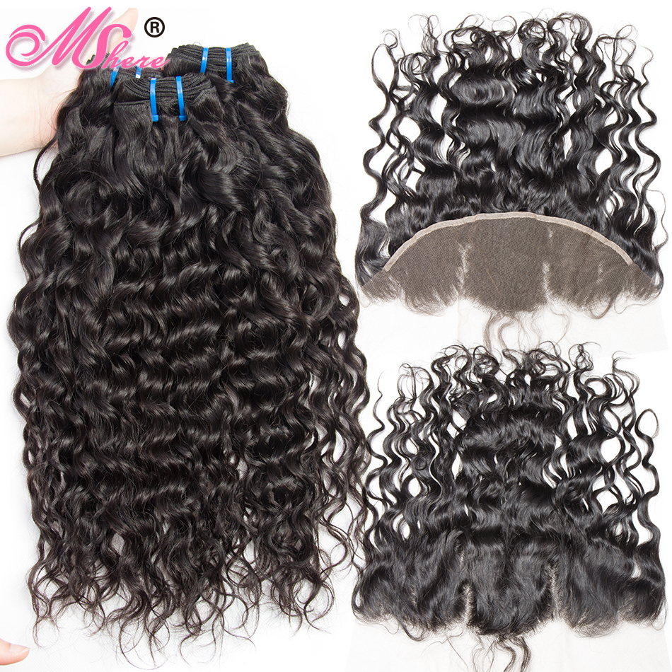 Mshere Human Hair 3 Bundles Peruvian Water Wave With Frontal Closure 13 4 Ear To Ear