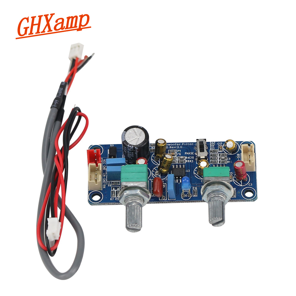 GHXAMP Subwoofer Preamplifier Low-Pass Filter Board Home Car Subwoofer Speaker Preamp Use Dual Channel Single Power 9-32V