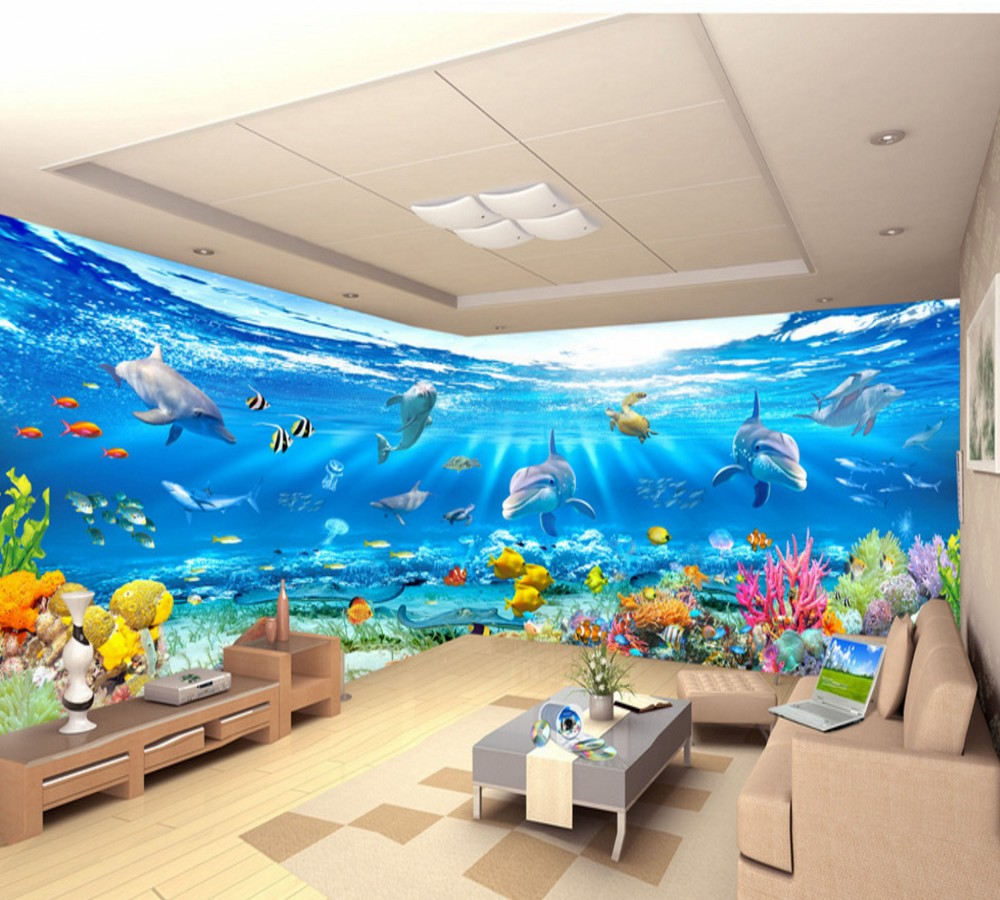 US $19 0 OFF Free Shipping 10 Meters Underwater World Underwater Scenery Living Room Wall Living Room Custom Mural Made In China Wallpapers