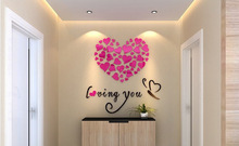 Colorful Love Heart 3D Acrylic Decoration Wall Sticker