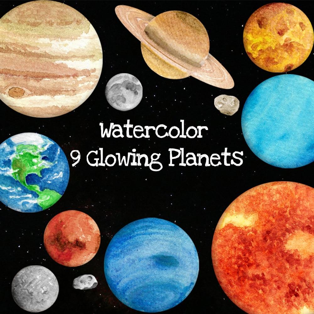 9 PCS Glow In The Dark Solar System Planeten Aufkleber Kind von Licht Mond Sterne Decor für Kinder Schlafzimmer Baby schlafen
