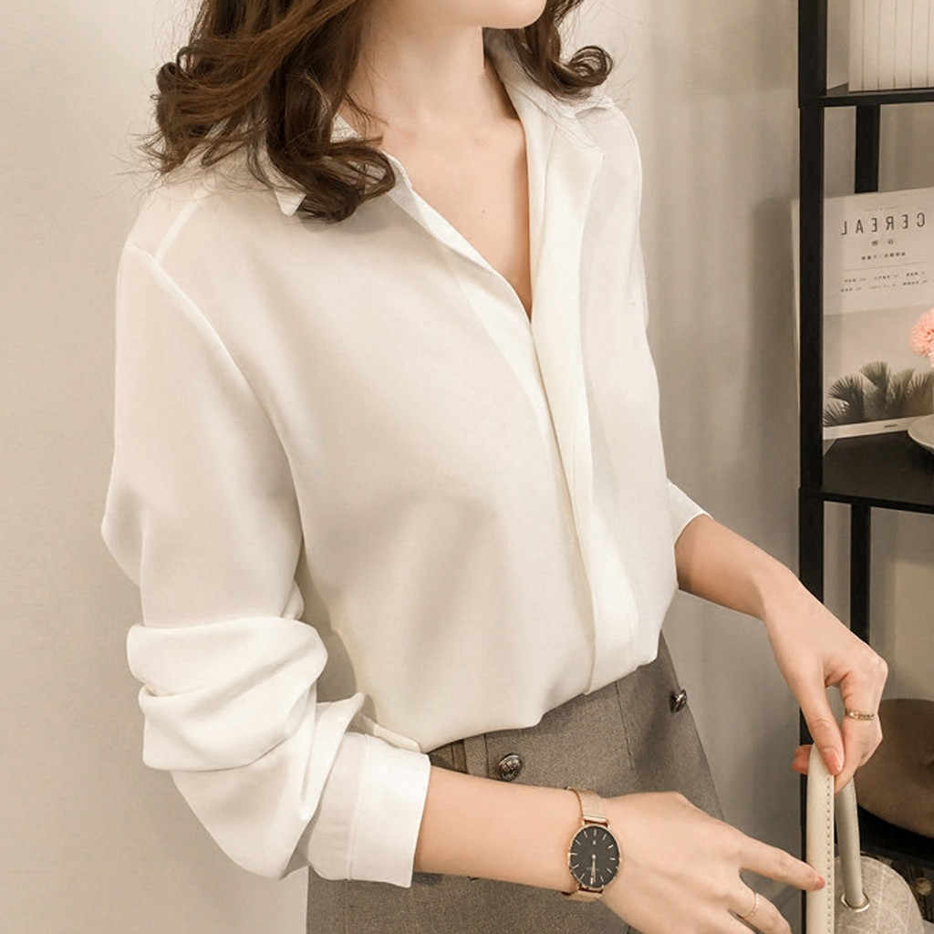 Women's Wear Simple Lapel Long Sleeve Chiffon Pure Color Shirt Summer Girl's Female Blusas Camisa Turn Down Collar Office Blouse