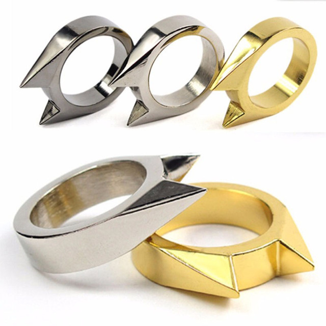 1Pcs Women Men Safety Survival Ring Tool EDC Self Defence Stainless Steel Ring Finger Defense Ring Tool Silver Gold Black Color 2