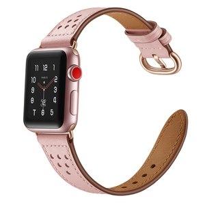Image 3 - สายหนังแท้สำหรับ Apple นาฬิกา Band 5/4/3/2/1 44 มม.40 มม. iWatch 42 มม.38 มม.Rose Gold Buckle นาฬิกาเข็มขัด