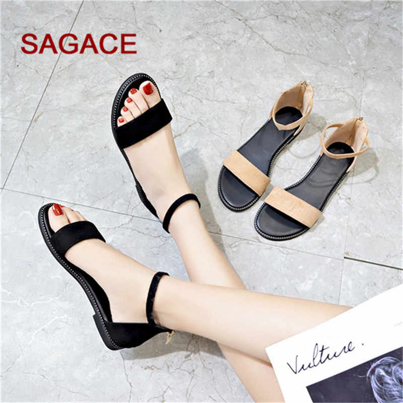 SAGACE Women Flock+PU Sandals Shoes Summer Peep Toe Luxury Sandals Flat With Women Sandalias Mujer 2019