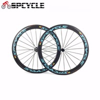 Spcycle Full Carbon Road Bicycle Clincher Wheelsets,U shape 50mm Road Bike Carbon wheels Wheelsets with Basalt brake Surface