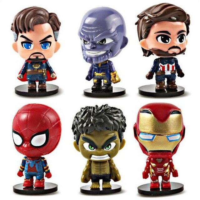 6 Pcs Super-heróis Vingadores Thanos The Hulk Homem De Ferro Homem Aranha Raytheon Doutor Estranho dom coleção de brinquedos para crianças