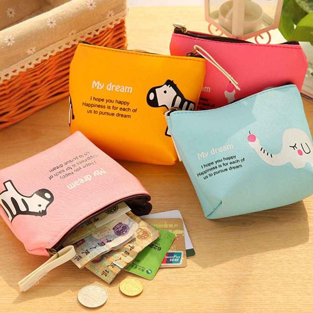 1 pc 8 Cores Portátil Estilo Coreano Bolso PU LEATHER Coin Purse Zipper Menina Fruta Dos Desenhos Animados Impressão Coelho Fêmea Mini saco carteira