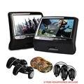 "2*9"" Leather Style Black Color Headrest Car DVD Player Car Headrest DVD car Monitor player with HDMI Port & 2 free IR headphone"