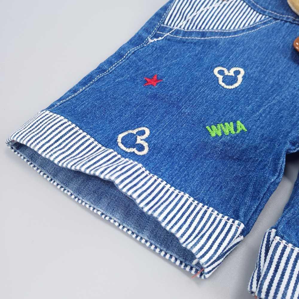 Bebek erkek kız kot tulum şort yürüyor çocuk Denim tulum sevimli karikatür ayı Bebe tulum yaz önlüğü pantolon elbise