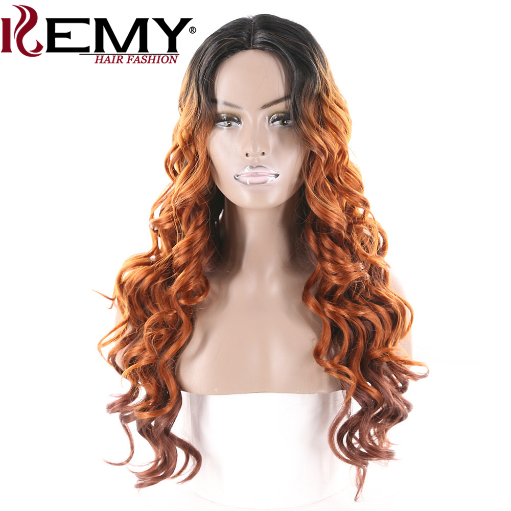 KEMY HAIR Synthetic Lace Wig Long Wavy Deep Invisible Middle Part Loose Wave Ombre Hair  ...