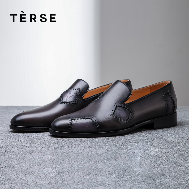 Free Ship¥Flat-Shoes Patch Business-Dress Italian Handmade Blue-Color Genuine-Leather Luxury Men
