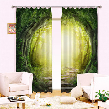 Misty forest 3D Blackout Window Curtains For Living room Bedding room Hotel/Office Curtain Drapes Cortinas para sala