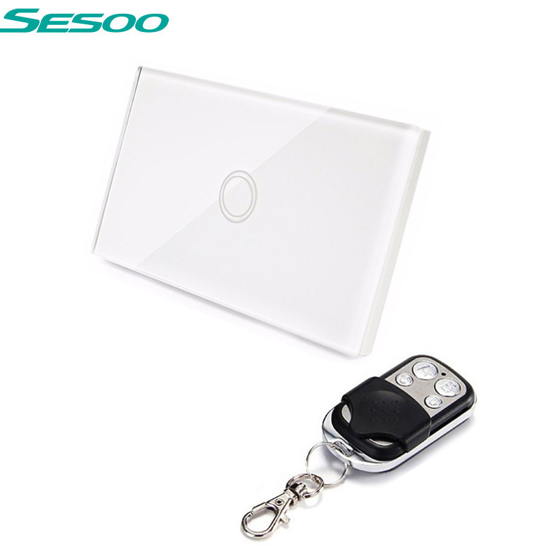 US Standard SESOO Remote Control Switch 1 Gang 1 Way ,RF433 Smart Wall Switch, Wireless remote control touch light switch smart home us black 1 gang touch switch screen wireless remote control wall light touch switch control with crystal glass panel