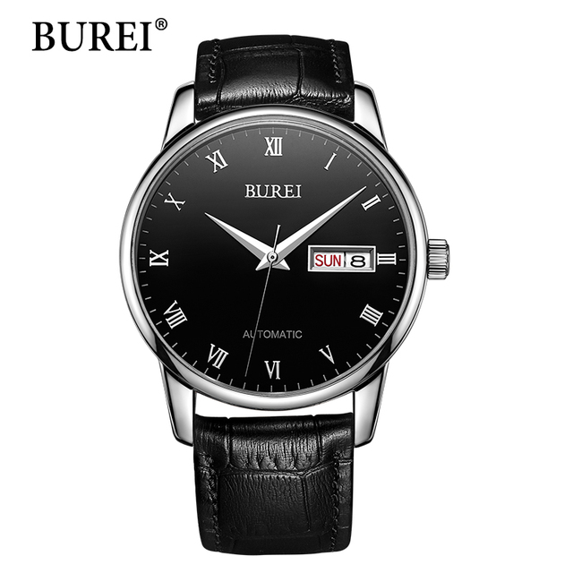 BUREI Men Watch Top Brand Luxury Automatic Male Clock Calfskin Band Day And Date Display Black Lens Mechanical Watches Hot Sale