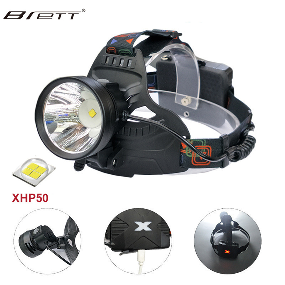 LED Headlamp Super Bright 30W Chip 3000Lumens XHP50 LED Headlight For Outdoor Camping Tactical Flashlight Head Light With 18650