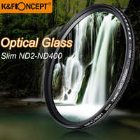 K & F CONCEPT Slim ND2-400 Fader de densidad neutra Variable ND filtro marco de Metal lente de vidrio óptico ajustable 52/55/58/67/72/77mm