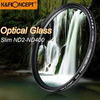 K&F CONCEPT Slim ND2-400 Neutral Density Fader Variable ND Filter Metal Frame Optical Glass Lens Adjustable 52/55/58/67/72/77mm
