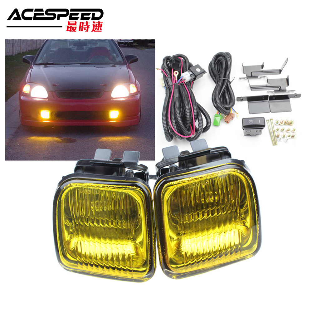 JDM Fog Lights Lamp For Honda Civic EK 1996 97 98 2 3 4DR Fog Lamp Driving Lamp With Switch Yellow Clear