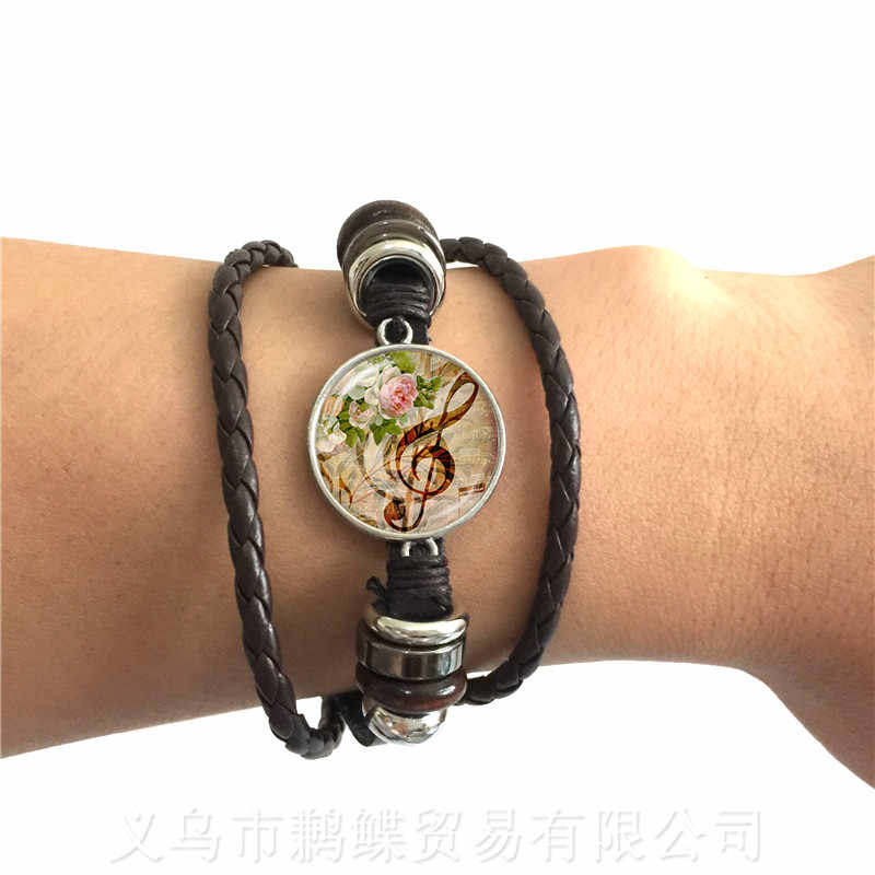 Music Note Art Picture Gem Glass Dome Bracelet For Men Women Music Lover's Gift Leather Bangle Souvenirs Gift Teacher's Day