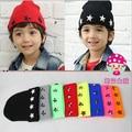 1 unids, envío gratis 2015 nuevo otoño y el invierno bebé estrella remache sombrero de lana de niños y niñas de tejer sombrero skullies gorros