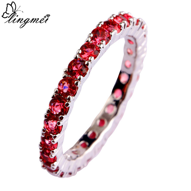 lingmei Round Cut Multi-color CZ Silver Color Ring Full Sizes Wedding Anniversary Classic Jewelry For Women Men Party Wholesale