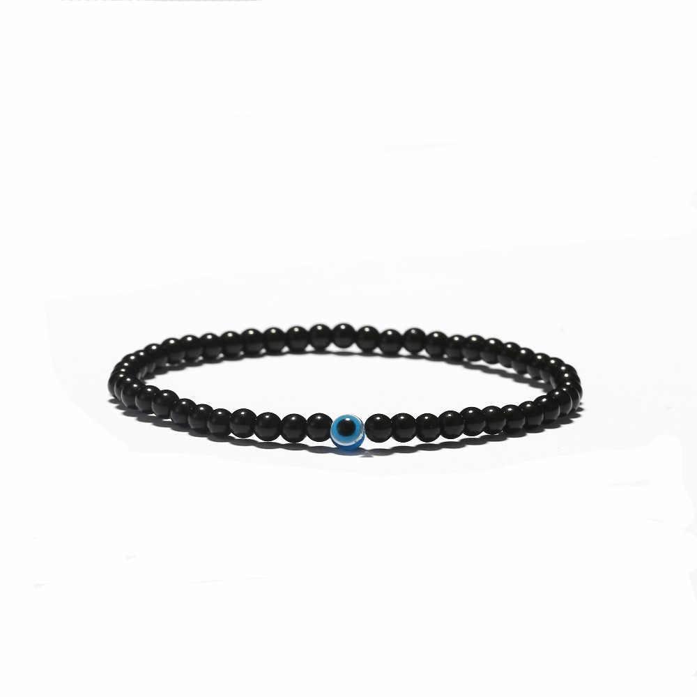 Мода 3 размера турецкий браслет Злой Глаз черный натуральный камень Бусины обсидиан мужские Braslet для мужчин Йога ювелирные изделия, аксессуары ручной работы