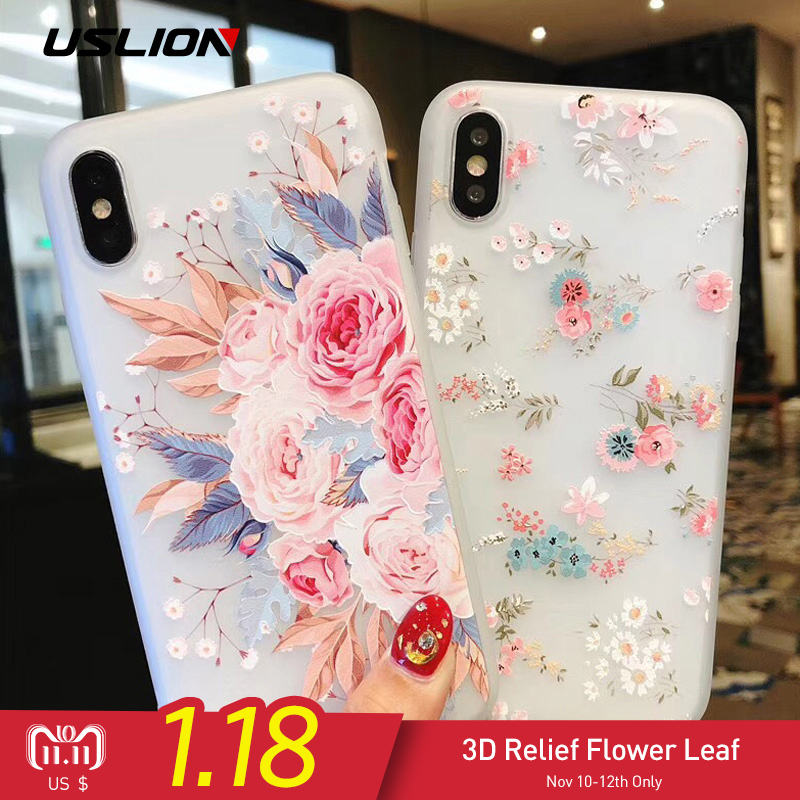 USLION Flower Silicon Phone Case For iPhone 7 8 Plus XS Max XR Rose Floral Cases For iPhone X 8 7 6 6S Plus 5 SE Soft TPU Cover esamday clear silicon soft tpu case for 7 7plus 8 8plus x xs max transparent phone case for iphone 5 5s se 6 6s 6plus 6splus