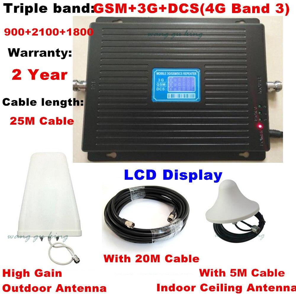 Pantalla LCD tribanda 2G 3G 4G repetidor GSM 900 WCDMA 2100 LTE 1800 amplificador de señal celular 70dB ganancia gsm repetidor 3G 4G amplificador