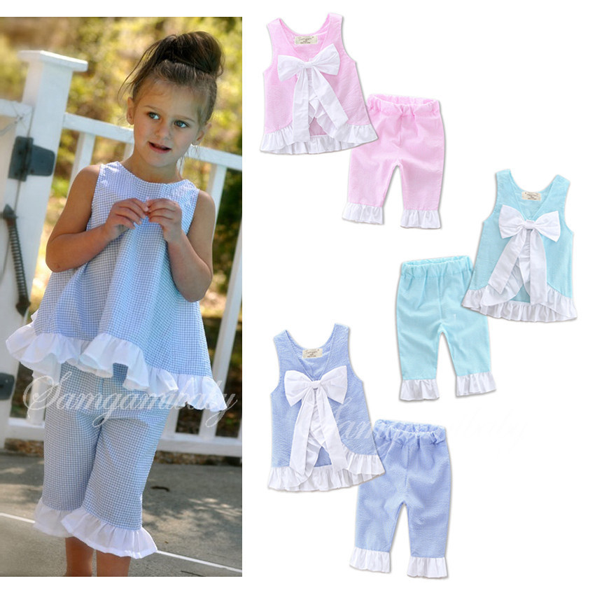 Baby Girls Plaid Ruffles Bow Vest and Pants 2pcs Sets