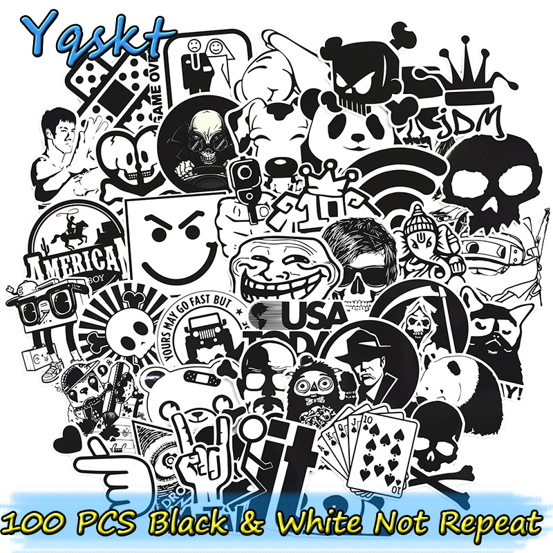 100 Pcs Black and White Stickers for Laptop Luggage Skateboard Bicycle Motorcycle Car Styling Graffiti Waterproof Cool Sticker vintage lady beauty luggage skateboard stickers pvc waterproof sunscreen car stickers 5 12cm laptop stickers