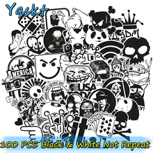 100 Pcs Black and White Stickers for Laptop Luggage Skateboard Bicycle Motorcycle Car Styling Graffiti Waterproof Cool Sticker