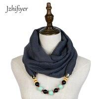 Jzhifiyer Viscose Women Plain Beads Pendant Shawl Jewellery Hijab Pendant Scarfs Necklace Muslim Lady Shawl Charm
