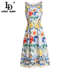 Ld linda della 2021 verão nova moda vestido de pista das mulheres sem mangas tanque lindo floral impresso vestido