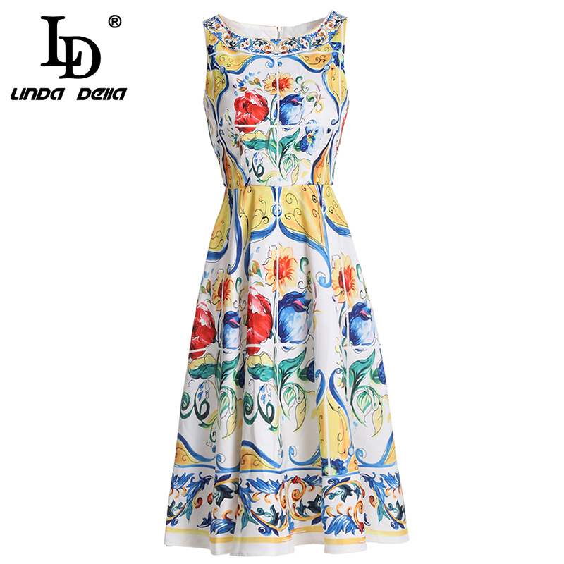 LD LINDA DELLA New  Summer Fashion Runway Dress Womens Sleeveless Tank Gorgeous Floral Printed vestido