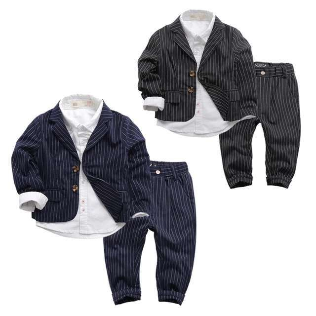 цены на Kids Boys Clothes Sets Casual Baby Boy Clothing Coat Spring Autumn Children Gentleman Suits Long Sleeve Striped Clothes 2 Colors в интернет-магазинах