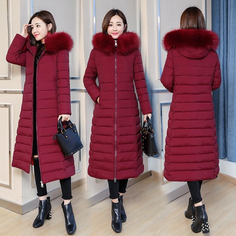 Hooded Winter Down Coat Jacket Long Warm Slim Women Cotton-padded Casaco Feminino Abrigos Mujer Invierno Wadded Parkas Outwear 8