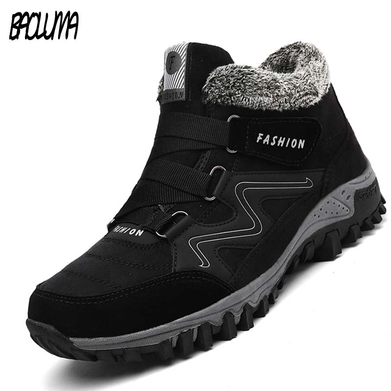 Male Winter Boots Brand Men Suede Working Fur Warm Ankle Boots Driving Leather Men's Boots Men Winter Waterproof Men Snow Boots
