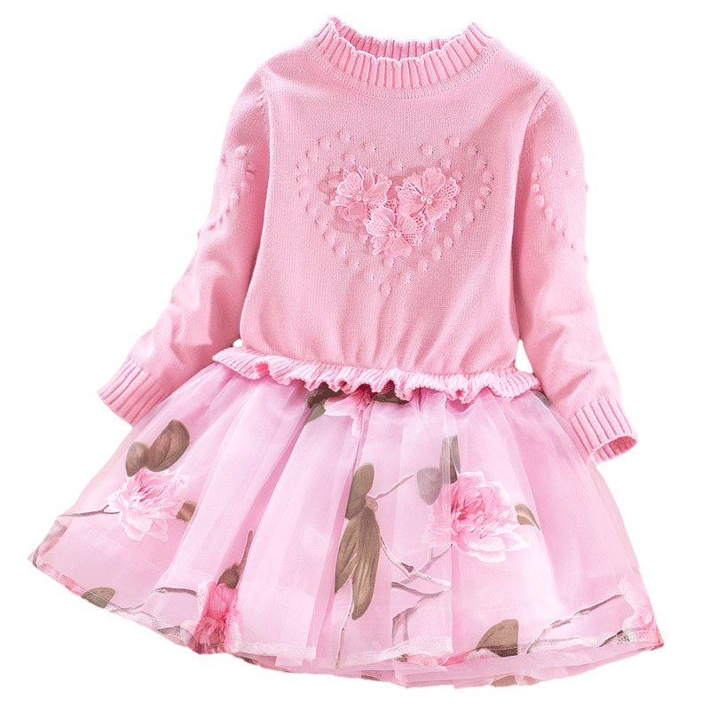 Kid Girls Sweater lace Dress 2018 Spring Autumn Winter Long Sleeve flower Princess Party Girl Dresses 3-9Y Baby Children Clothes fashion jacquard spring and autumn long sleeved lace print dress princess party baby girl dresses girl clothes 3 7 yrs