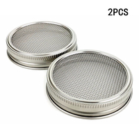 2018 Hot Silver high quality 2pcs Stainless Steel Strainer Filter Net Cover For Sprouting Lids