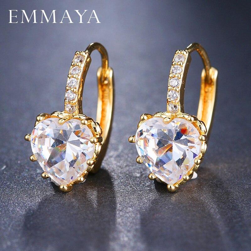 Женские серьги пусеты EMMAYA, серьги со стразами и сердечком золотого цвета, модные серьги со стразами|Серьги-гвоздики|   | АлиЭкспресс