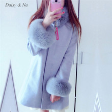 Daisy & Na Nice Solid Color Wool Fur Winter Warm Clothes Cape coat Long Sleeve Women 173
