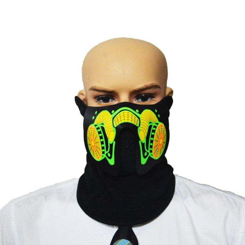 Máscara LED luminoso intermitente Cara máscara control de sonido de Halloween terror casco fuego Festival Máscaras de fiesta